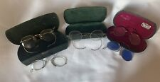 Lot of 5 Vintage Antique Eyeglasses Spectacles & 3 Cases