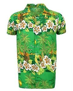 MENS HAWAIIAN SHIRT STAG BEACH HAWAII ALOHA  SUMMER HOLIDAY FANCY GREEN SUN