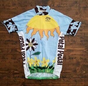 Primal Cycling Jersey Petal Pedal Jersey Sun & Flower Design 3/4 Zip Women's S
