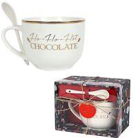 Large  Ho Ho Hot Chocolate Mug And Spoon Set In Gift Box Ideal Christmas Gift