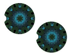 Blue Ocean Rubber Car Coasters For Drinks Absorbent Car Cup Holder   SET OF 2