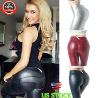 Women PU Leather Yoga Pants High Waist Push Up Workout Stretch Leggings Trousers