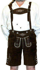 German Men LEATHER LEDERHOSEN Oktoberfest Shorts Pants Bavarian BROWN / 2 Pc SET