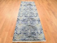 "2'7""x8'3"" Silk With Oxidized Wool HandKnotted Runner Oriental Rug G41490"