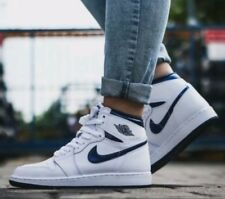 Nike Air Jordan 1 Retro High BG Trainers White Blue Women's Girls Boys UK 6 EU40