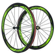 WINDBREAK Green Logo Carbon Wheelset 50mm Clincher Bicycle Wheels Shimano 10/11S