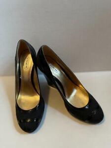 COACH Black Kerry Ann Signature Patent Leather Trim Pumps Wedges Sz. 6.5B NEW