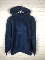 Adidas Originals Winterized Sherpa Pullover Hoodie Men's Small blue DH7078