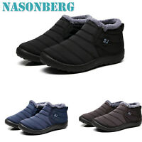 Waterproof Winter Mens Shoes Snow Boots Fur-lined Slip On Warm Ankle Size US