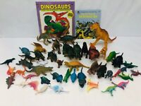 Plastic Dinosaur Toy Lot Some Vintage with 2 Children's Books Pretend Play Set