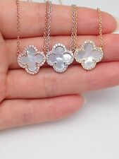 "Sterling Silver Mother Of Pearl Four-Leaf Clover Pendant Necklace 16""-18"" Ladies"