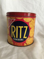 Collectible Vintage 1977 Nabisco Ritz Crackers Tin Round Container With Lid