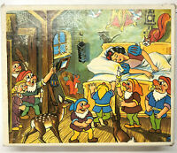 Vintage Snow White Seven Dwarfs Wood Block Puzzle Original Box 1960's Retro