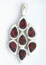 Natural Pear Teardrop Bright Natural Garnet Gemstone Gem Sterling Silver Pendant