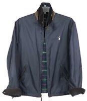 Vintage Polo Ralph Lauren Harrington Jacket Corduroy Leather Collar Blue Mens L