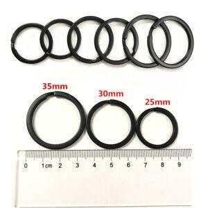 25-35MM Strong Steel Split Rings Key Ring Black Metal Loop Flat Keychain Holder