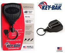 Belt Clip Key Reel, Retractable, Black With 48-In. Kevlar Cord