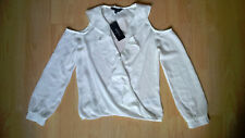 Brand New White Cold Shoulder Wrap Ruffle Blouse from Lipsy Size 8