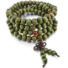 8mm Wood Necklace Tibetan Green Sandal 108pcs Bead Buddhist Prayer Bracelet L2H3