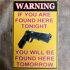Metal iron Sign Gun, Warning Decor Bar Pub Home Vintage Retro Poster
