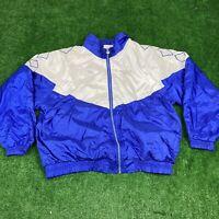 Vintage 90's Reebok White Blue Embroidered Jacket Size XL Men's Bomber GUC