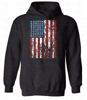 American Flag Distressed HOODIE Sweatshirt sweater hooded 4th Of July Patriotic