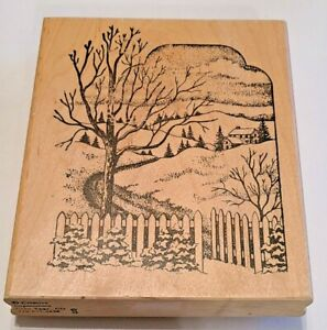 Trees Landscape Snow Nature Northwoods Rubber Stamp Christmas Winter