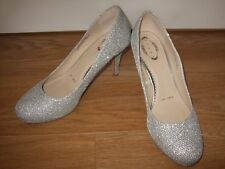DEBUT Silver Glittery Stiletto Heel Court Shoes.Small Platform.Size 7. EUR 40