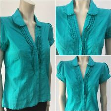 ❤ MONSOON Size 10 Ladies Turquoise Polka Dot Vintage 40s Style Ruffle Blouse