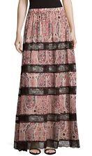 $485 ALICE + OLIVIA Hetty Bohemian Boho Paisley Lace Maxi Long Skirt - Sz 8