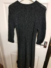 Ladies Longline Jumper Sweater Knitted Wool mix Dress Grey Marl HOBBS Size 14