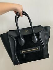 Céline Paris Luggage Bag Black Lambskin Leather And Suede Mix - Large Tote Style