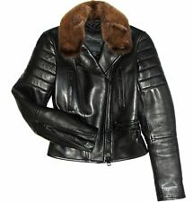 $5500 Burberry Prorsum Black Leather Mink Fur Collar Moto Biker Jacket Coat