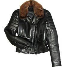$5500 Burberry Prorsum Black Leather Mink Fur Collar Moto Biker Jacket Coat
