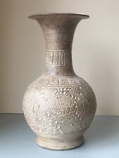 """13.25"""" Large 20thC Earthenware Terracotta Pottery Vase. Antique Chinese Style"""