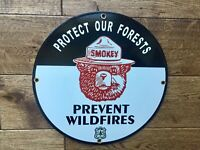"""Vintage Smokey the Bear Forest Service Heavy Porcelain Sign 12"""""""