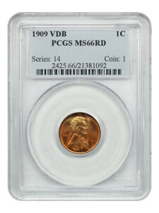1909 VDB 1c PCGS MS66 RD - Popular First-Year Issue - Lincoln Cent