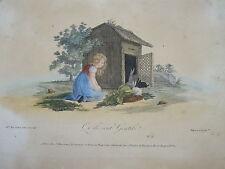 BELLE GRAVURE COULEUR SCENE ENFANT LAPIN CAMPAGNE FERME FILLE MODE 1820