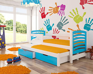 Trundle Bed AVILA for kids/childrens room with 2 free mattresses and drawers