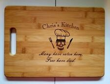Personalized chef skull Kitchen Bamboo Cutting Board Christmas Birthday 13 3/4""