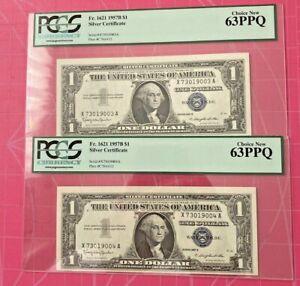 Consecutive (2)1957B $1 Silver Certificate   PCGS 63 PPQ Choice New