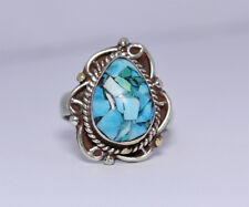 Stone Tribal Design S3 Sterling Silver Ring Handmade Turquoise