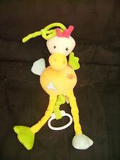 Doudou oiseau Baby Nat' musical en velours plat 35 cm