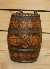 Vintage hand made folk pyrography wood brandy flask keg