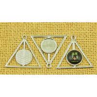 20 Pcs Blank Round Bezel Tray Base 16mm Cabochon Jewelry DIY Charms Pendants