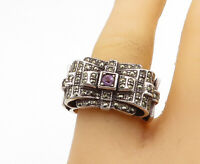 925 Silver - Vintage Victorian Amethyst & Marcasite Band Ring Sz 8 - R16571