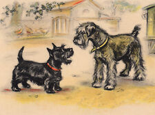 SCHNAUZER  & SCOTTISH TERRIER SCOTTIE DOG GREETINGS NOTE CARD TWO LOVELY DOGS
