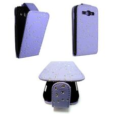 CASE FOR SAMSUNG GALAXY ACE 3 LILAC GLITTER FLIP PU LEATHER POUCH PHONE COVER
