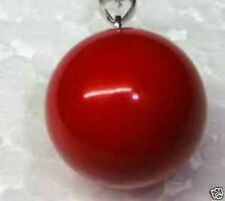 HUGE 14MM SEA RED SHELL PEARL NECKLACE PENDANT