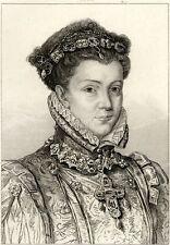 Portrait de Elisabeth de France Reine d'Espagne - Gravure 19e